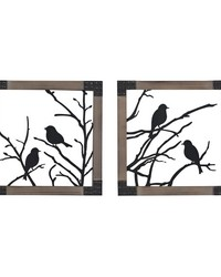 Ollerton-Set Of 2 Birds On A Branch In Natural Wood Tone Frame by
