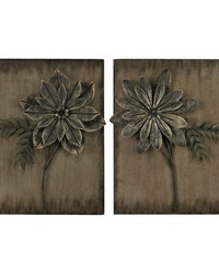 Promenade-Set Of 2 Metal Flower Wall Panels by