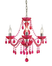 Theatre-3 Light Cerise Pink Mini Chandelier by