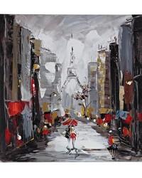 Paris Scene Oil On Canvas by