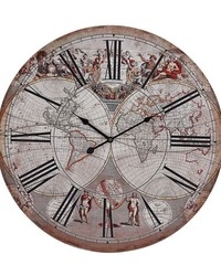 Renaissance Style Printed Map Clock by