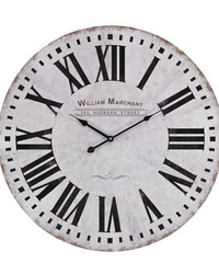 Aged White Wall Clock by