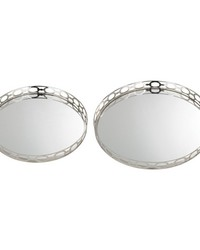 Set of 2 Mirrored Ring Tray by