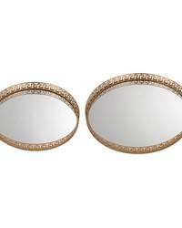 Set of 2 Mirrored Greek Key Tray by