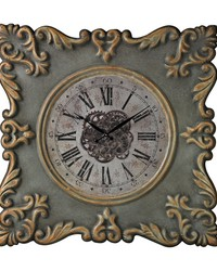 Nahant-Antique Reproduction Clock Frame With Industrial Centre Print by