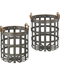 Caxton Baskets In Aged Iron With Gold Highlights by