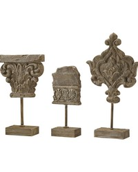 Auvergne Finials In Aged Corbel Stone - Set of 3 by