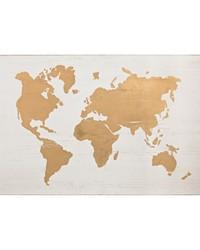 Metallic World Map on Wood by