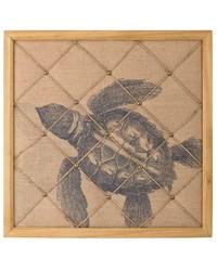 Turtle on Linen Note Board by