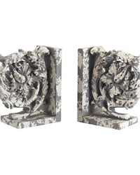 Aged Plaster Scroll Bookends by