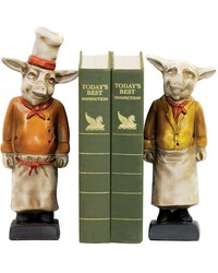 Pair Chef Pig Bookends by