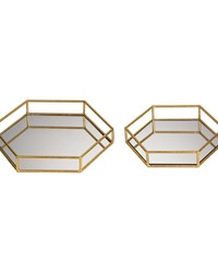 Set of 2 Mirrored Hexagonal Trays by