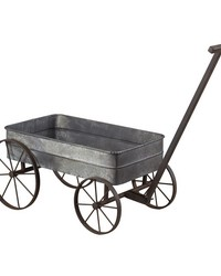 Metal Cart Planter With Handle by