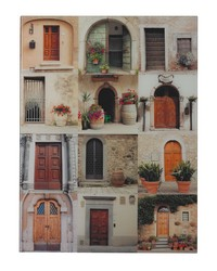Door Collage II-Door Collage Photography Printed On Glass by
