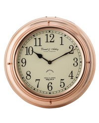 Polished Copper Nautical Clock by