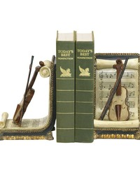 Pair Of Violin And Music Bookends by