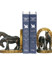 Pair Horse And Horseshoe Bookends by
