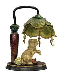 Rabbit Under Leaf Mini Accent Table Lamp by