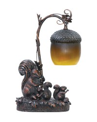 Squirrel Acorn Mini Accent Table Lamp by