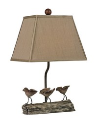 Little Birds On A Log Lamp by