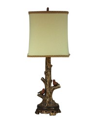 Birds On A Branch Accent Lamp With Gold Leaf Base by