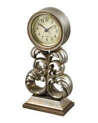Desk Clock In Antique Silver by