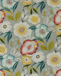 Silver Modern Floral Designs Fabric  Amagansett-pebbletx 941 Sterling