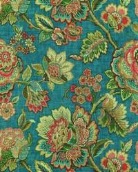 Jacobean Floral Fabric  Egremont 504 Azure