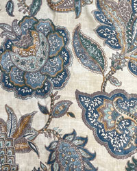 Jacobean Floral Fabric  Foligno 59 Laguna