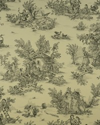 White French Country Toile Fabric  Hl-pastorale 1 White black
