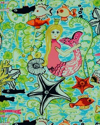 Marine Life Fabric  Mermaids 754 Bubble Gum