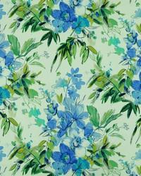 Blue Modern Floral Fabrics  Nadine 52 Cabana Blue