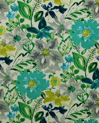 Blue Modern Floral Designs Fabric  Okeefe 219 Turquoise