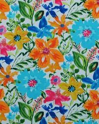Blue Modern Floral Fabrics  Okeefe 52 Cabana Blue