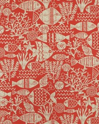 Red Marine Life Fabric  SD aquarium 378 Coral Red