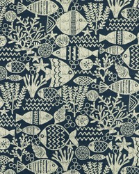 Blue Marine Life Fabric  SD aquarium 598 Nautical