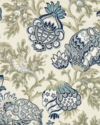 Canterbury Linen Print Oyster  Indigo by