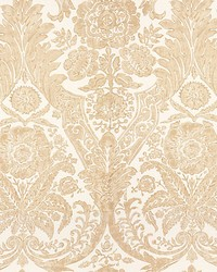 Luciana Damask Print Sand by  Scalamandre Wallcoverings