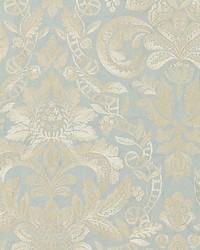 Elizabeth Damask Embroidery Aquamarine by