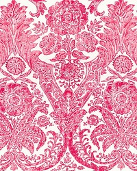 Luciana Damask Print Raspberry by  Scalamandre Wallcoverings