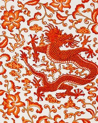 Chien Dragon Linen Print Persimmon by