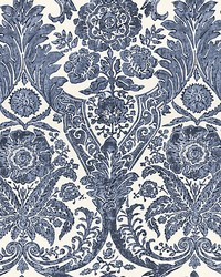 Luciana Damask Print Denim by  Scalamandre Wallcoverings