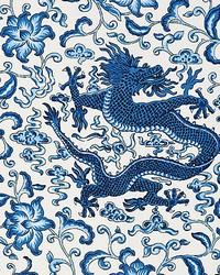Chien Dragon Linen Print Indigo by