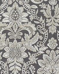 Elizabeth Damask Embroidery Charcoal by
