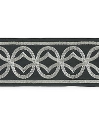 Athena Embroidered Tape Charcoal by  Scalamandre Trim
