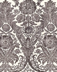 Luciana Damask Print Graphite by  Scalamandre Wallcoverings