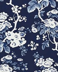 Ascot Floral Print Indigo by  Scalamandre Wallcoverings