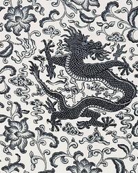 Chien Dragon Linen Print Charcoal by