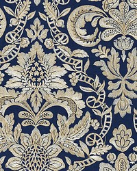 Elizabeth Damask Embroidery Indigo by