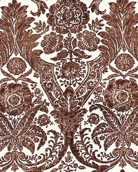 Luciana Damask Print Espresso by  Scalamandre Wallcoverings